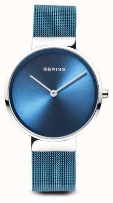 Bering レディース クラシック ブルーPVDメッキスチールメッシュブレスレット 14531-308
