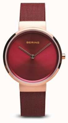 Bering レディース|クラシック|赤いPVDメッキスチールメッシュブレスレット 14531-363