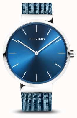 Bering メンズ|クラシック|ブルーPVDメッキスチールメッシュブレスレット 16540-308