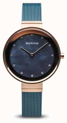 Bering レディース|クラシック|青いPVDメッキスチールメッシュ 10128-368