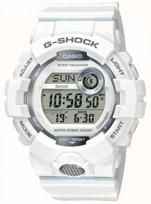 Casio | gショックスポーツウォッチ、ステップトラッカーホワイトラバーストラップ GBD-800-7ER
