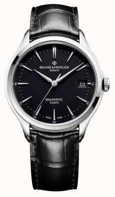 Baume & Mercier |メンズクリフトンバウマチック黒革|写真黒革ブラックダイヤル| BM0A10399