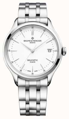Baume & Mercier |メンズクリフトンバウマチックステンレス鋼ホワイトダイヤル| BM0A10400