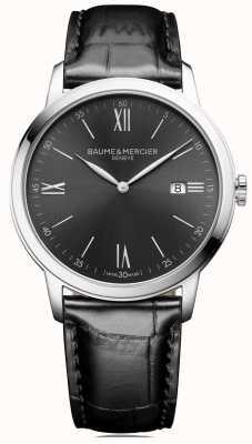 Baume & Mercier |メンズクラッシマ黒革|写真黒革スレートグレーダイヤル|ベクターイラスト| CLIPARTO BM0A10416