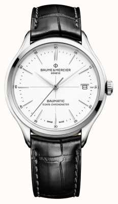 Baume & Mercier |メンズクリフトンバウマチック黒革|写真黒革ホワイトダイヤル| BM0A10436