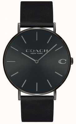 Coach |メンズ|チャールズ|黒革ストラップ|ブラックダイヤル| 14602434