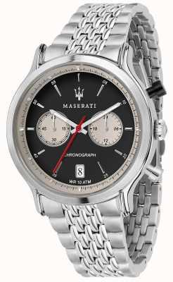 Maserati |エポカレーシングステンレススチールブレスレット|写真ステンレススチールブレスレットブラックダイヤル R8873638001