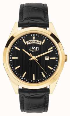 Limit |メンズブラックレザーストラップ|ブラックダイヤル|ゴールドケース 5750.01