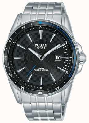 Pulsar |アクセルスポーツステンレススチールブレスレット|写真ステンレススチールブレスレットブラックダイヤル PX3203X1