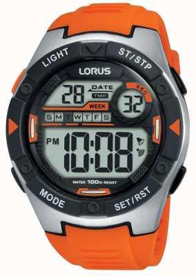 Lorus |メンズスポーツデジタル|ベクターイラスト| CLIPARTOオレンジラバーストラップ|ベクターイラスト| CLIPARTO R2303NX9