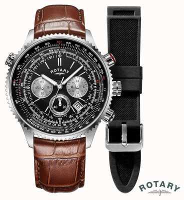 Rotary メンズパイロットクロノグラフブラックダイヤル|ブラウンレザーストラップ GS00100/04/KIT