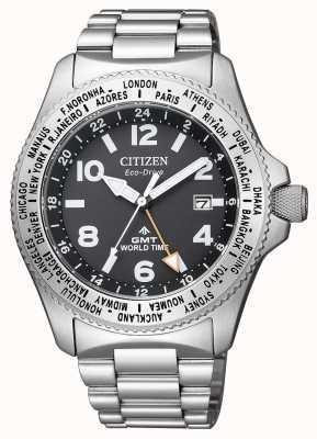 Citizen |メンズエコドライブプロマスターGMT |ブラックダイヤル|ステンレス鋼 BJ7100-82E