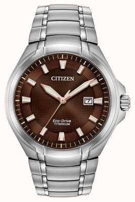Citizen |メンズエコドライブ|チタンブレスレット|写真チタンブレスレットブラウンダイヤル| BM7431-51X
