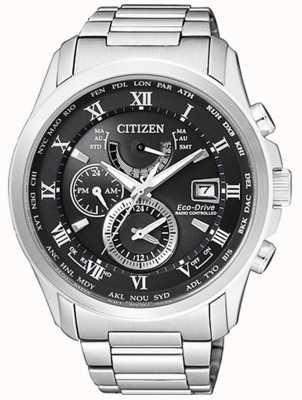 Citizen |メンズエコドライブ世界時間ステンレス鋼ブラックダイヤル AT9081-89E