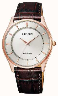 Citizen |メンズエコドライブ|ブラウンレザーストラップ|シルバーダイヤル| BJ6483-01A