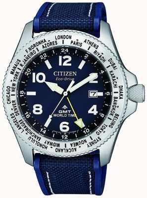 Citizen |メンズエコドライブプロマスターGMT |ブルーダイヤル|ブルーストラップ| BJ7100-15L