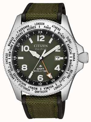 Citizen メンズエコドライブプロマスターGMTグリーンキャンバスストラップグリーンダイヤルウォッチ BJ7100-23X