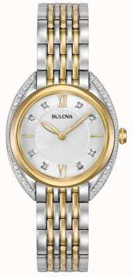 Bulova レディースクラシックダイヤモンド ツートーンステンレススチールブレスレット 98R229