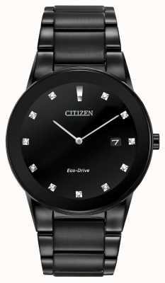 Citizen |メンズ公理エコドライブブラックダイヤモンドダイヤル|ブラックブレスレット AU1065-58G