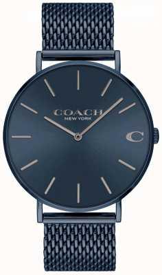 Coach メンズチャールズ|写真メンズチャールズブルーIPメッシュスチールブレスレット| Jewelry-stores.co.ukブルーダイヤル 14602146