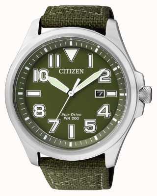 Citizen |メンズエコドライブ|グリーンナイロンストラップ|ベクターイラスト| CLIPARTOグリーンダイヤル| AW1410-32X