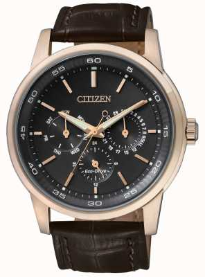 Citizen |メンズエコドライブ|茶色の革ストラップ|ブラッククロノダイヤル| BU2013-08E