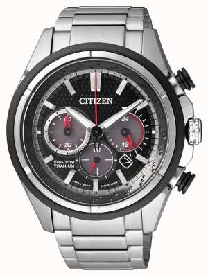 Citizen |メンズエコドライブ|チタンブレスレット|写真チタンブレスレットブラックダイヤル| CA4241-55E