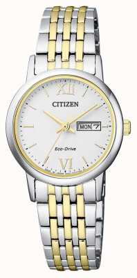 Citizen |レディースエコドライブ|ツートンカラーブレスレット|シルバーダイヤル| EW3254-87A