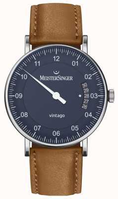 MeisterSinger |メンズヴィンターゴ自動|ブラウンレザー|写真ブラウンレザーブルーダイヤル VT908