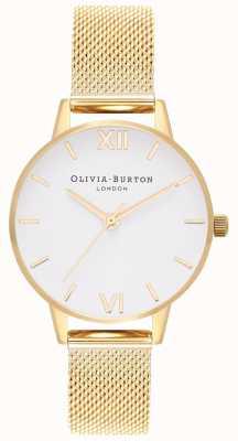 Olivia Burton |レディース|ホワイトダイヤル|ゴールドメッシュブレスレット| OB16MDW35