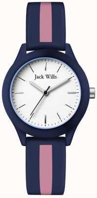 Jack Wills |女性組合ホワイトダイヤル|ネイビー/ピンクシリコンストラップ| JW008BLPST