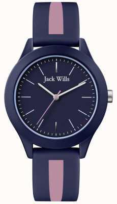Jack Wills |メンズユニオンネイビーダイヤル|ピンク/ネイビーシリコンストラップ| JW009BLPST