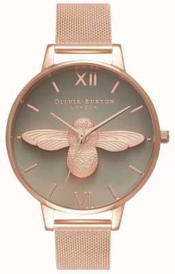 Olivia Burton |レディース| 3Dミツバチ|ローズゴールドメッシュブレスレット|グレーダイヤル| OB16AM117