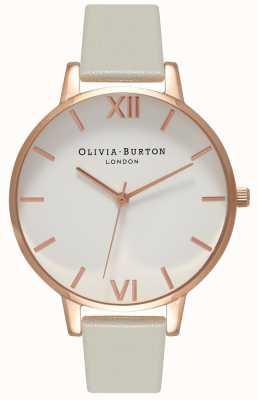Olivia Burton |レディース|ホワイトダイヤル|グレーレザーストラップ| OB15BDW02