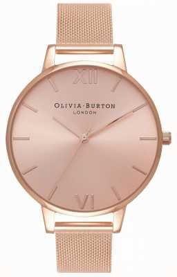 Olivia Burton |レディースビッグサンレイダイヤル|ベクターイラスト| CLIPARTOローズゴールドメッシュブレスレット| Jewelry-stores.co.uk OB16BD102