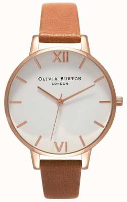 Olivia Burton |レディース大きな白いダイヤル|タンレザーストラップ| OB16BDW19