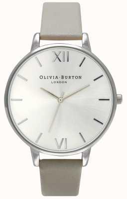 Olivia Burton |レディースシルバーダイヤル|グレーレザーストラップ| OB15BD57