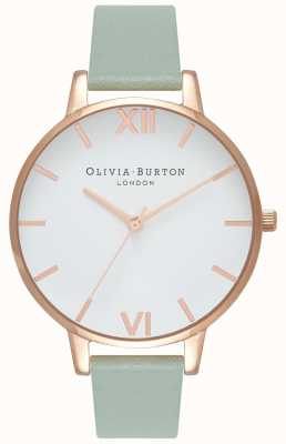Olivia Burton |レディース大きな白いダイヤル|ミントレザーストラップ| OB16BDW27