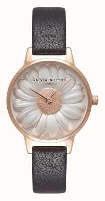 Olivia Burton |レディース3Dデイジーダイヤル|ベクターイラスト| CLIPARTOブラックレザーストラップ| OB16FS97