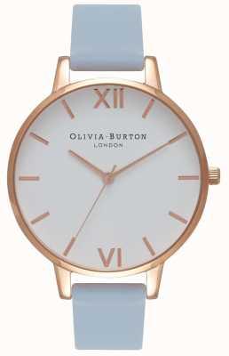 Olivia Burton |レディース大きな白いダイヤル|チョークブルーストラップ|ベクターイラスト| CLIPARTO OB16BDW18