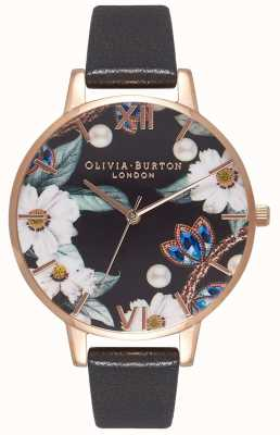 Olivia Burton  レディース宝石をちりばめたブラックレザーストラップ  OB16BF04