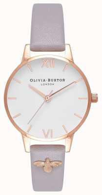 Olivia Burton |レディース3Dハチ|写真3Dハチ装飾レザーグレーライラックストラップ| Jewelry-stores.co.uk OB16ES11