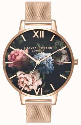 Olivia Burton |レディースダークブーケダイヤル|ベクターイラスト| CLIPARTOローズゴールドメッシュブレスレット|ベクターイラスト| CLIPARTO OB16WG52