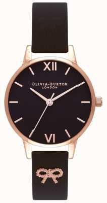 Olivia Burton |レディースブラックダイヤル|ヴィンテージボウブラックストラップ|ベクターイラスト| CLIPARTO OB16VB07