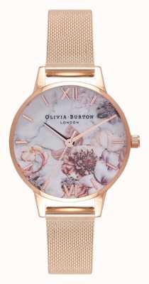 Olivia Burton |レディース大理石の花柄|写真大理石の花柄ローズゴールドメッシュブレスレット| Jewelry-stores.co.uk OB16CS06