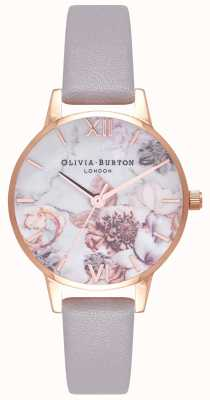 Olivia Burton |レディース大理石の花柄|写真大理石の花柄グレーライラックレザーストラップ|ベクターイラスト| CLIPARTO OB16CS14