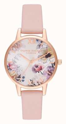 Olivia Burton |レディース日光の花柄ほこりの多いピンクのレザーストラップ| OB16EG115