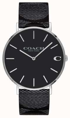 Coach |メンズ署名|チャールズ黒革|写真黒革 14602157