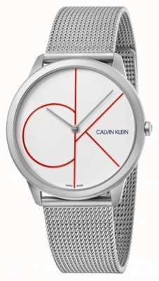 Calvin Klein 最小限シルバーメッシュブレスレット|ベクターイラスト| CLIPARTOホワイトダイヤル| K3M51152