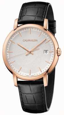Calvin Klein |メンズ最小|写真メンズ最小ブラックレザーストラップ|ホワイトダイヤル| K9H216C6